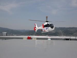 初着陸するドクターヘリ